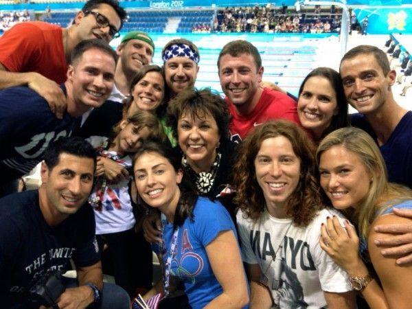 Bei den olympischen Schwimmbewerben: Shaun White und Bar Refaeli.