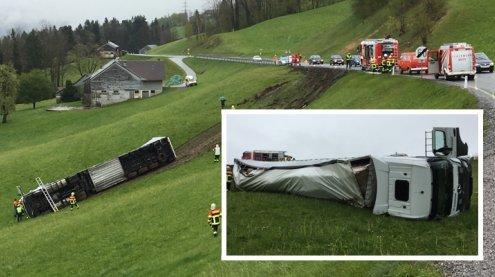 Lkw in Alberschwende abgestürzt