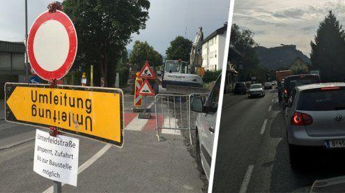 Staus vorprogrammiert: Sperre in Unterfeldstraße belastet Verkehr